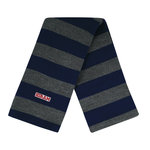 Rugby navy/charcoal striped knit scarf. one size
