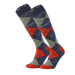 Dress argyle knit knee sock
