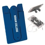 Navy silicone phone wallet w/stand