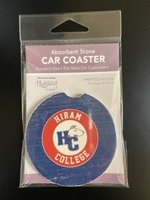"Ceramic car coaster, 2.5"" round. Fits most car cupholders"