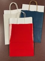 Gift Bags w/tissue, asst colors (blue, red, white)